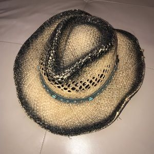 Distressed Straw Turquoise Black Cow Girl Hat, L